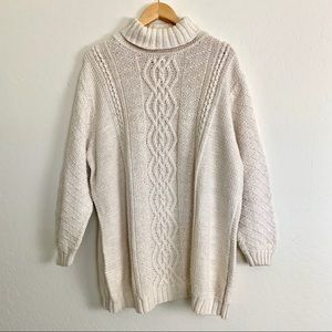 Nordstrom Caslon Fisherman Knit Tunic Sweater 3X